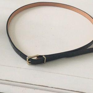 J. Crew black patent leather skinny belt